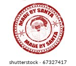Red grunge rubber stamp with Santa shape and the text Made by Santa written inside the stamp - stock vector