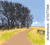 Woodcut Print Landscape. A...