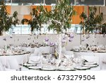 restaurant tables decorated... | Shutterstock . vector #673279504
