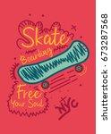 new york skateboarding t shirt... | Shutterstock .eps vector #673287568