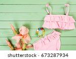 set of baby girl's clothes on... | Shutterstock . vector #673287934