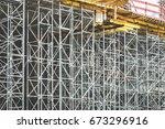 metal framework   scaffolding... | Shutterstock . vector #673296916