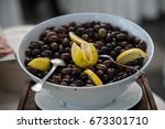 olives in bowl | Shutterstock . vector #673301710