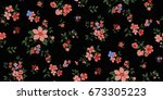 seamless floral pattern in... | Shutterstock .eps vector #673305223