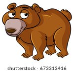 grizzly bear with sleepy face... | Shutterstock .eps vector #673313416