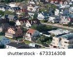 aerial view of luxury shoreline ... | Shutterstock . vector #673316308