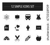 set of 12 editable school icons.... | Shutterstock .eps vector #673318939