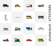 set of 16 editable automobile...