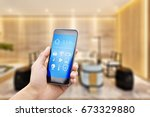mobile phone with apps on smart ... | Shutterstock . vector #673329880