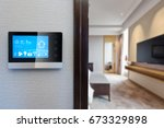 digital screen on wall with... | Shutterstock . vector #673329898