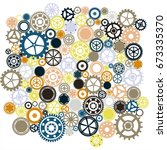 steampunk gears background | Shutterstock .eps vector #673335370
