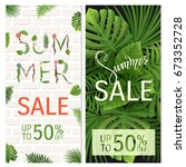 summer sale. tropical palm... | Shutterstock .eps vector #673352728