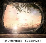 holy bible story concept  empty ...   Shutterstock . vector #673354264