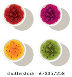 vector set of bowls with fruit... | Shutterstock .eps vector #673357258
