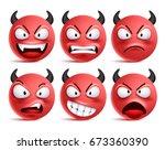 Demon Smileys Vector Set. Bad...