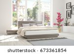 white bedroom with green... | Shutterstock . vector #673361854