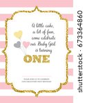 first birthday invitation for... | Shutterstock .eps vector #673364860