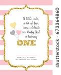 first birthday invitation for... | Shutterstock .eps vector #673364860