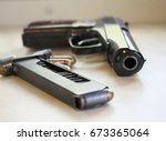 russian pistol black gun | Shutterstock . vector #673365064