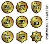 golden badges | Shutterstock .eps vector #673367434
