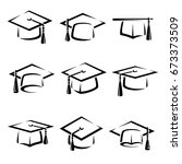 graduation cap set. vector | Shutterstock .eps vector #673373509