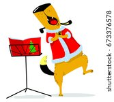 christmas avatar with a singing ... | Shutterstock .eps vector #673376578
