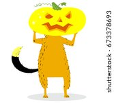 halloween dog character with a... | Shutterstock .eps vector #673378693