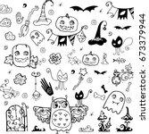 hand drawn halloween doodles | Shutterstock .eps vector #673379944