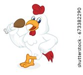 chicken cartoon leaning and... | Shutterstock .eps vector #673382290