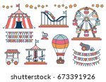 set of line icon circus... | Shutterstock .eps vector #673391926
