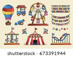 set of line icon circus... | Shutterstock .eps vector #673391944