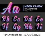 vector neon character typeset.... | Shutterstock .eps vector #673392028