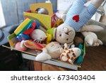 box of various toys | Shutterstock . vector #673403404