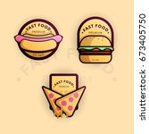 fast food logo banners | Shutterstock .eps vector #673405750