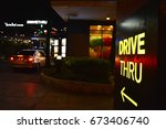 Yellow Drive Thru Sign With An...