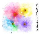 flowers watercolor illustration | Shutterstock . vector #673409200