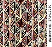 seamless tribal boho pattern.... | Shutterstock .eps vector #673413250