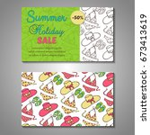 set of stylized summer holidays ... | Shutterstock .eps vector #673413619