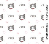 seamless pattern of cartoon cat ... | Shutterstock .eps vector #673418059