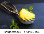 mango sorbet  summerish dessert ... | Shutterstock . vector #673418458