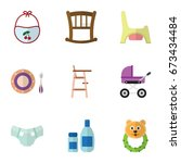 flat icon baby set of rattle ... | Shutterstock .eps vector #673434484