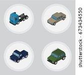 isometric automobile set of...