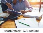 business man accountant working ... | Shutterstock . vector #673436080