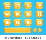 set of buttons and progress bar ... | Shutterstock .eps vector #673436638