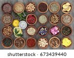 healthy herb tea selection in... | Shutterstock . vector #673439440