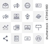 set of 16 trade outline icons... | Shutterstock .eps vector #673441480