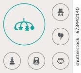 set of 6 child icons set... | Shutterstock .eps vector #673442140
