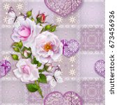 floral background. seamless... | Shutterstock . vector #673456936
