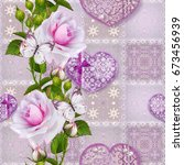 floral background. seamless... | Shutterstock . vector #673456939