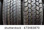 car tire background | Shutterstock . vector #673483870